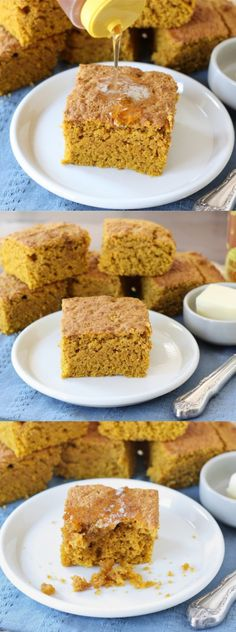 Pumpkin Cornbread Recipe on twopeasandtheirpod.com The perfect cornbread for fall! #pumpkin