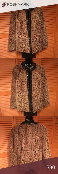 Brown and Black Tiger Print Jacket Brown and black open front jacket with Gold tone studs down the front. 57% rayon 43% polyester Dress Barn Jackets & Coats Blazers