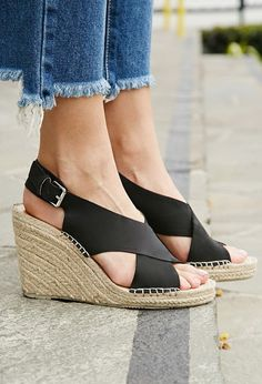 b725086730d6 Black Criss Cross Wedge- good exception because of the thick crisis cross