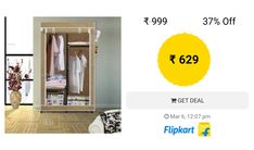 6e126221aa5 Flipkart SmartBuy Single Door 4 Shelf PP Collapsible Wardrobe (Finish Color  - Beige) Collapsible