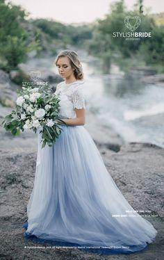 Dusty Blue Succulent Wedding Ideas 36 Ideas For 2019 Tulle Flower Girl, Tulle Flowers, Flower Girl Dresses, Wedding Flowers, Blue Tulle Skirt, Tulle Wedding Skirt, Carrie Bradshaw, Dusty Blue, Blue Succulents