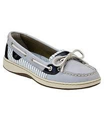 Light gray/blue with navy and striped sperrys