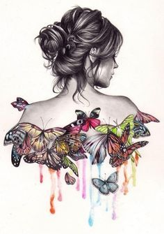 Amazing Butterfly Influenced Portrait Of Girl By Gabriel Moreno