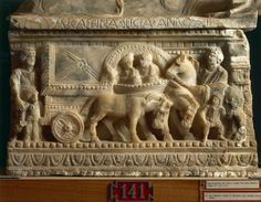 Etruscan alabaster sarcophagus detail portraying husband and wife making the journey into underworld together. C.150BC. Volterra. Guarnacci Etruscan museum