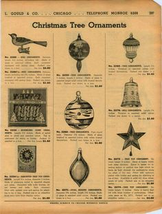 1938 Ad Christmas Tree Ornaments Santa Claus 16 Images Tree Toppers Star Bird | eBay