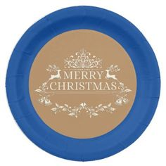 "Royal Blue & Gold Merry Christmas 9"" Paper Plates - kitchen gifts diy ideas decor special unique individual customized"