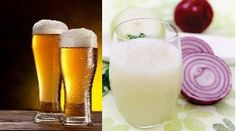 Onion juice & Beer First apply onion juice on you scalp massage it gently. And then use beer shampoo to wash you hairs. you can mix onion juice and beer and apply it on hairs.