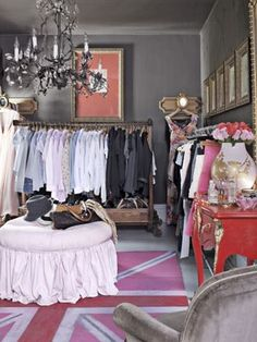 Country Living - dark grey walls in spare bedroom turned walk-in closet Dressing Room Closet, Closet Bedroom, Closet Space, Walk In Closet, Dressing Rooms, Dressing Area, Master Closet, Bedroom Decor, Design Bedroom
