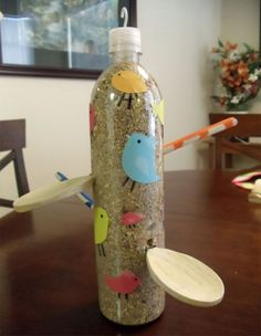 Plastic bottle made into a bird feeder