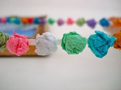 Cutest idea - instead of glue string like popcorn strings - maybe a bead inbetween