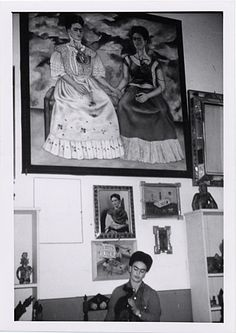 * Frida Kahlo in her studio with The Two Fridas, Coyoacán, Mexico 1943 - photo Florence Arquin