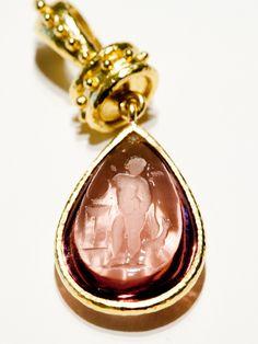 Elizabeth Locke Mauve Teardrop Venetian Glass -from Amanda Pinson Jewelry