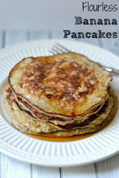 These Flourless Banana Pancakes are extra healthy, gluten free yumminess to serve for your next brunch or just an everyday breakfast idea. Top them with fresh fruit, chocolate chips and/or maple syrup.