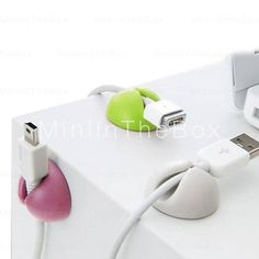 [USD $ 3.60]  - Stick-on Wire Holder(6PCS,Random Colors)
