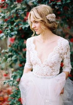 Modest 2017 Romantic Lace Wedding Dresses Bohemian with Half Sleeves Plunging Neckline Beading Sash Tulle A Line Wedding Gowns