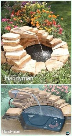 DIY Garden Fountain Landscaping Ideas & Projects with Instru.- DIY Garden Fountain Landscaping Ideas & Projects with Instructions DIY Concrete Fountain Instruction – DIY Fountain Landscaping Ideas & Projects - Concrete Fountains, Diy Garden Fountains, Diy Fountain, Outdoor Fountains, Garden Pond, Outdoor Ponds, Front Yard Fountains, Rock Fountain, Herb Garden