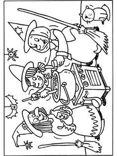 Kleurplaat Heksenfeest kleurplaat - Kleurplaten.nl Halloween Arts And Crafts, Theme Halloween, Halloween Painting, Halloween Drawings, Halloween Pictures, Halloween Signs, Halloween Pumpkins, Fall Halloween, Halloween Coloring Sheets