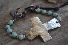 Reserved for MC Bolton Sideways cross bracelet 'Faith' aqua, rustic hammered… Rustic Jewelry, Boho Jewelry, Jewelry Crafts, Jewelry Art, Beaded Jewelry, Jewelry Bracelets, Handmade Jewelry, Jewelry Design, Cross Bracelets