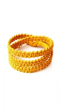 I really like these wrap; around bracelets.  I would like to add a charm to this one; :D  Macrame 3 Wrap, Yellow - 1mm