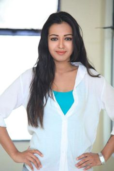 Catherine Tresa in white & blue