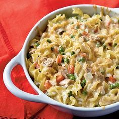 Tuna Noodle Casserole. I doubled the amount of noodles, veggies, and cheese. Yummmmmmm!