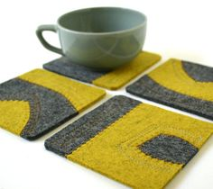 Felt Coasters in Mustard and Charcoal Merino Wool with Yellow and Gray Top-Stitching on Etsy, £14.69