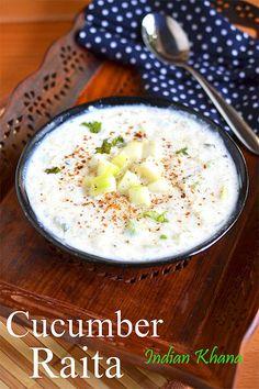 Cucumber (Kheera) Raita   Vellarikka Pachadi   Easy Raita Recipes ~ Indian Khana