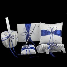 OurWarm 1 Wedding Guest Book + 1 Pen Set + 1 Flower Girl Basket + 1 Ring Bearer Pillow + 1 Garter , White Cover , Decor w/ Royal Blue/Deep Blue Ribbon Bowknot, Double Heart Diamante Crystal Rhinestone Buckle, Rustic,Elegant Wedding Ceremony Party Favor, http://www.amazon.com/dp/B00NN50AC2/ref=cm_sw_r_pi_awdm_lDUwub0CHMSCV/185-4505358-6076630