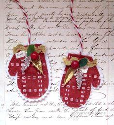mitt ornaments from scraps...charlotte lyons