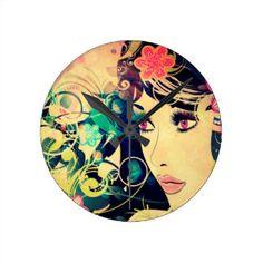 Grunge Summer Girl with Floral 4 Round Clock