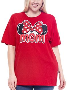 Special Offer: $14.76 amazon.com Disney MOM plus size t-shirt with Minnie Mouse ears and bow graphic print. The 100% cotton tee is red. The shirt has short sleeves, a crew neck and a straight cut for a unisex/boyfriend style (not fitted).MOM t-shirt with Minnie Mouse ears & bow graphic...
