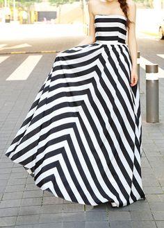 Black and White Stripes Off Shoulder Dress