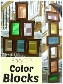 DIY Color blocks for light play made from a dollar store wooden block game from And Next Comes L OMG ! so easy and so inexpensive!!!!