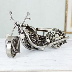 Armando Ramirez - Hand Crafted Mexican Chopper Rustic Recycled Sculpture - Big Rustic Motorcycle | NOVICA