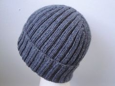 Gray Ribbed Hat Men & Teen Boys Hand Knit Wool blend by Girlpower, $39.00