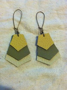 Chevron leather earrings on Etsy, $12.00