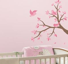 BABY PINK BIRDS branches leaves wall stickers 75 nursery decals decor