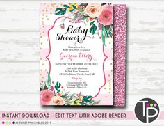 Girl BABY SHOWER Invitation Instant Download Pink Watercolor