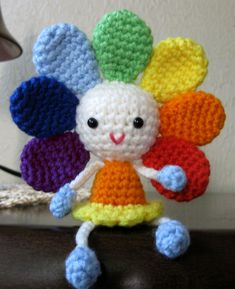PATTERN Rainbow Flower Doll Amigurumi por CrochetCuteDolls See other ideas and pictures from the category menu…. Crochet Animal Patterns, Crochet Doll Pattern, Crochet Dolls, Crochet Sunflower, Crochet Flowers, Rainbow Flowers, Doll Tutorial, Crochet Patterns Amigurumi, Stuffed Toys Patterns