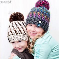 Crochet hat pattern - Northern Lights Beanie (Hat) by Northern Knots - Pom Pom hat - winter crochet hat - chunky crochet hat pattern - winter beanie pattern - easy crochet pattern Chunky Crochet Hat, Crochet Winter Hats, Crochet Cap, Crochet Baby Hats, Crochet Beanie, Crochet For Kids, Crochet Clothes, Knitted Hats, Crochet Crafts