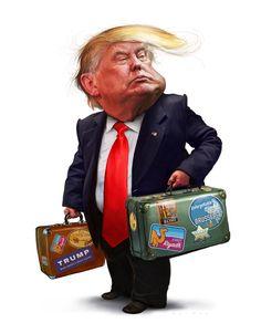Jason Seiler Illustration: Circling the Globe. Jason Seiler illustrates Trump's first international trip as President for The Weekly Standard. Trump Cartoons, Political Cartoons, Funny Cartoons, Cartoon Faces, Cartoon Art, Cartoon Characters, Caricature Artist, Caricature Drawing, Funny Caricatures