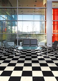 Polyflor Polyflex Plus Flooring - bold and modern office waiting area Office Floor, Waiting Area, Conference Room, Patio, Flooring, Outdoor Decor, Modern, Table, Furniture