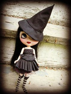 Black Cotton Pointy Witch Hat for Blythe by cindysowers on Etsy, $18.00