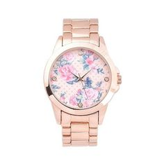 Women's Geneva Platinum Floral Round Face Link Watch ($20) ❤ liked on Polyvore featuring jewelry, watches, accessories, pink, platinum watches, pink watches, platinum jewellery, platinum jewelry and geneva watches