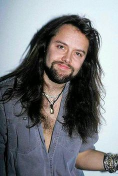 "Young LARS ULRICH of METALLICA with a beard and a long hair  ""The World's No:1 Online Heavy Metal T-Shirt Store"". Check it out NOW; www.HeavyMetalTshirts.net"