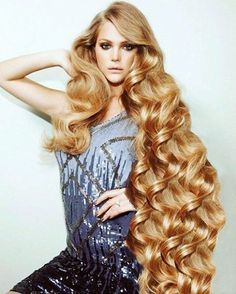 Photos of Perfect Blonde Color Hairstyle for Long Hair Long Curly Hair, Big Hair, Wavy Hair, Curly Hair Styles, Thick Hair, Blonde Hair, Really Long Hair, Super Long Hair, Beautiful Long Hair