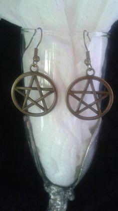 Bronze Pentagram Pentacle Earrings by SpeakingofWitchWands on Etsy