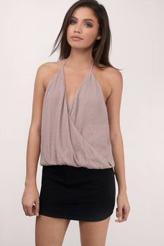 "Search: ""Maddison Taupe Surplice Halter Top"" on Tobi.com now! cami tank wrap front deep v plunging neckline cleavage low back open night out outfit layering cute sexy light summer spring"