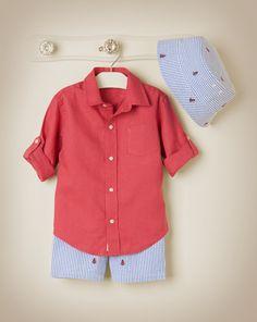 Roll Cuff Linen Shirt with Anchor Shorts