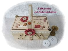Nähkorb Nähkästchen aus Holz mit Filz & Stickerei von Die Geschenkidee auf DaWanda.com
